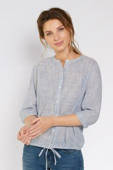FatFace Chambray Ellie Stripe Tie Front Top