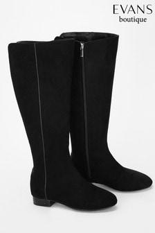 Evans Black Low Heel Long Boot