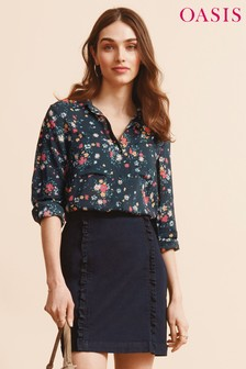Oasis Blue Bouquet Viscose Long Sleeve Shirt