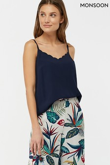 Monsoon Ladies Blue Suzie Scallop Cami