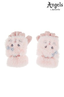 Angels by Accessorize Pink Fluffy Cat Capped Mitten