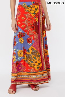 Monsoon Ladies Orange Jolene Jersey Print Maxi Skirt