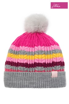Joules Multi Stripe Knitted Bobble Hat