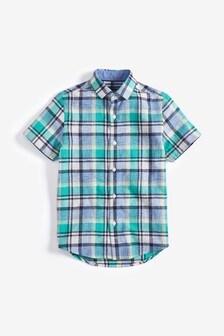 Рубашка в клетку с коротким рукавом из льняной ткани (3-16 лет)