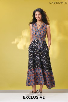Mix/Caroline Issa Silk Mix Print Maxi Dress