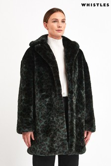 Whistles Green Animal Faux Fur Dree Coat