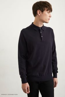French Connection Navy Knitted Stretch Cotton Long Sleeve Polo Shirt