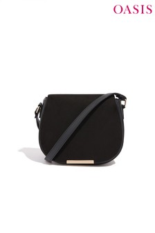 Oasis Black Suedette Saddle Bag