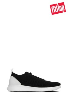 FitFlop™ Black Jett Lace-Up Knit Sneaker