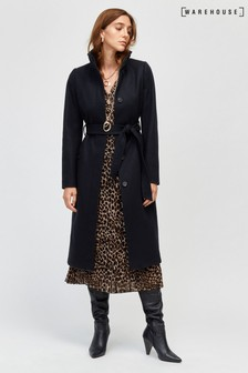 Warehouse Black Longline Funnel Coat