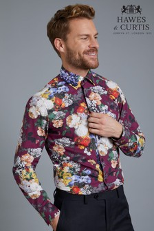 Hawes & Curtis Red Mens Wine And Orange Floral Print Shirt
