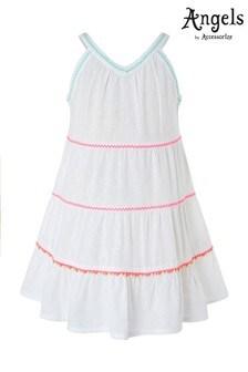 Angels by Accessorize White Tiered Pom Pom Dress