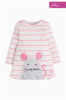 Joules Pink Stripe Baby Kaye Appliqué Dress