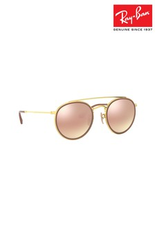 39921d3b608 Ray-Ban® Gold Round Double Bridge Sunglasses