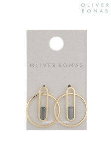 Oliver Bonas Gold Avi Oval Stud With Geo Inlay Earrings