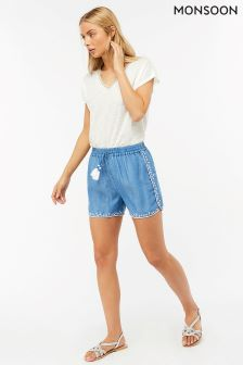 Monsoon Blue Toma Embroidered Short