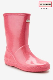 Hunter Pink Glitter First Classic Welly