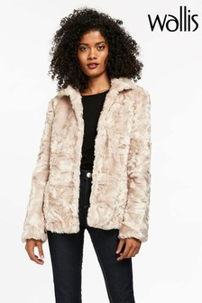 Wallis Blonde Crushed Faux Fur Short Coat
