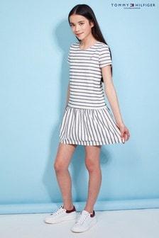 Tommy Hilfiger Girl White Textured Stripe Short Sleeve Dress