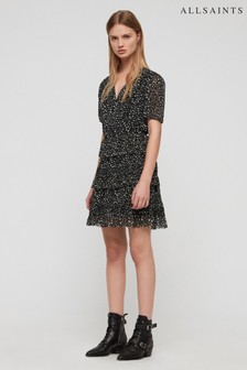 AllSaints Black Floral Print Ilia Wrap Dress