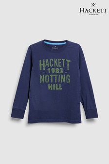 Hackett Kids Navy Blue T-Shirt With Olive Notting Hill Print