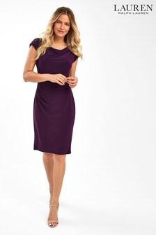 Ralph Lauren Purple Theona Cap Sleeve Dress