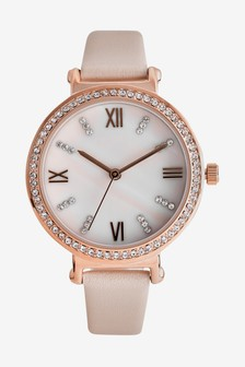 Leather Strap Watch With Swarovski® Crystals