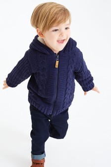 Chenille Jersey Lined Zip Through Cardigan (3mths-7yrs)