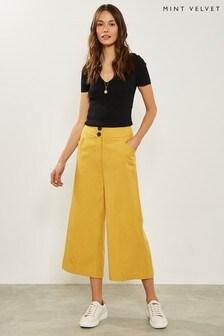 Mint Velvet Yellow Ochre Wide Leg Crop Trouser