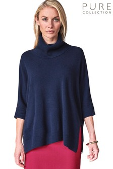 Pure Collection Blue Organic Cashmere Oversized Poncho