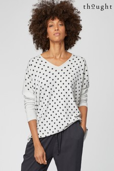 Thought Cream Spot V-Neck Jumper
