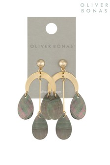 Oliver Bonas Gold Tone Curve Mop Resin Teardrop Earrings