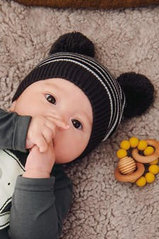 Knit Pom Pom Hat (0mths-2yrs)