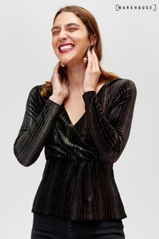 Warehouse Black Ombre Glitter Velvet Wrap Top