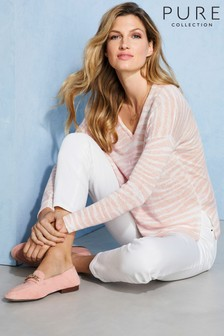 Pure Collection Natural Linen V-Neck Sweater