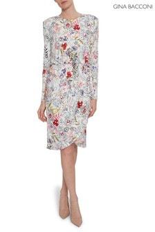 שמלה מבד ג'רזי עם הדפס פרחוני של Gina Bacconi דגם Klea בלבן