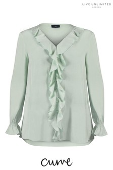 Live Unlimited Curve Sage Crinkle Ruffle Blouse