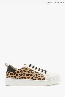 Mint Velvet Allie Leopard Leather Trainers