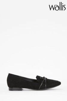 Wallis Blessed Black Bow Loop Loafers