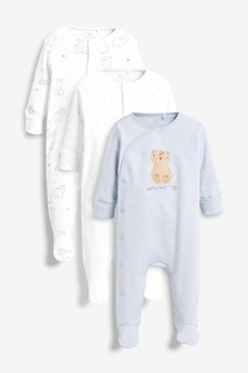 3 Pack Bear Character Sleepsuits (0mths-2yrs)