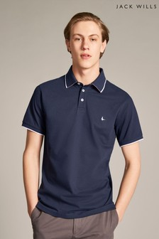 Jack Wills Navy Hamby Tipped Stretch Polo