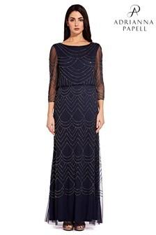 Adrianna Papell Blue Bead Mesh Dress