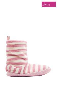 Joules Cream Stripe Homestead Fleece Slipper