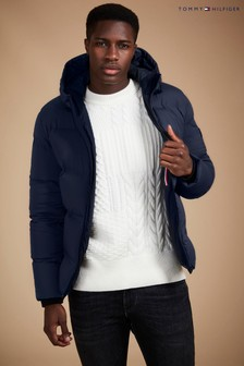 Tommy Hilfiger Navy Maddy Hooded Down Bomber Jacket