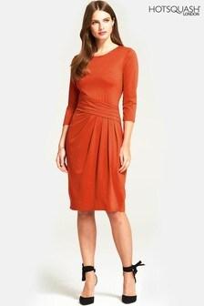 HotSquash Copper Terracotta Pleat Waist Dress