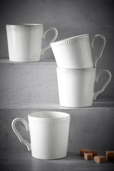 Set of 4 Aurelia Embossed Mugs