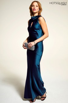 HotSquash Teal Silky Gown With Cowl Neck