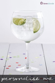 Personalised Gingle All The Way Gin Glass by Loveabode