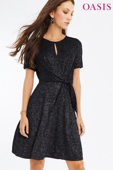 שמלה עם קשירה בצד מדגם Glitterball של Oasis בצבע כחול