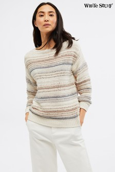 White Stuff Grey Textured Stripe Jumper